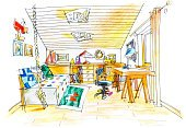 freehand drawing of a kids room