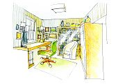 outline of a study room in color