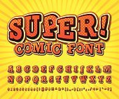 Comic font. Alphabet in style of comics, pop art