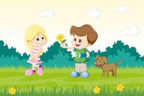 Boy has presented a flower to a girl