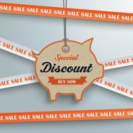 Sale Sticker Lines Piggy Bank Price Sticker