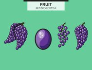 Set of grapes and grape bunches