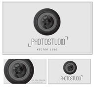 Camera Zoom Lens.Photo studio logo and business card template