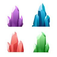 Colorful cartoon crystals isolated on background