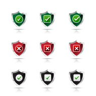 Collection of check mark and wrong mark with shield icon