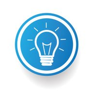 Light bulb on blue button design,clean vector