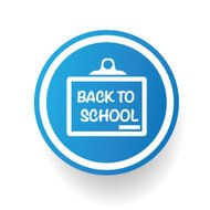 Back too school on blue button design,clean vector