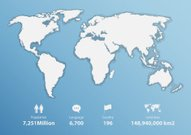 Detailed world map with basic information. Vector