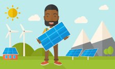 African man holding a solar panel