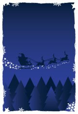 Illustration of Santa Clause in his sleigh