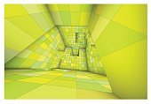 3d futuristic labyrinth green shaded vector interior illustration