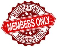 members only red round grunge stamp on white