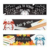 Back To School Supplies Banners or Web Headers