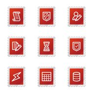 'Database icons, red stamp series'