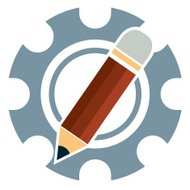 pencil and gear vector icon