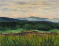 Summer landscape, panorama, mountain, forest. Oil painting