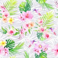 Hummingbirds and flowers with zebra texture seamless vector pattern