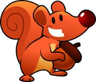 Funny Red squirrel smiling and holding a nut