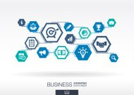 Business network. Hexagon abstract background with lines, polygons, integrate icons.