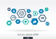 Social media network. Hexagon abstract background with lines, polygons, icons.