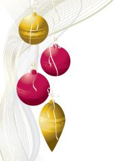 Baubles in Gold and Red LH Border - Christmas