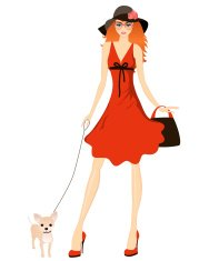 lady with dog. Vector illustration.