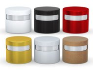 Blank cylindrical box packaging set with copy space, clipping path