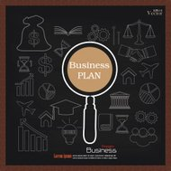 business plan.business concept icons on chalkboard.sketch busine