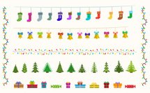 garland set of pixel art for christmas and new year
