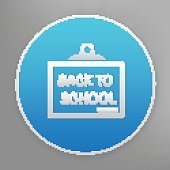 Back to school icon on blue background,clean vector