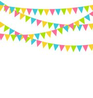 Multicolored bright buntings flags garlands isolated on white