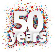 Fifty years paper confetti sign