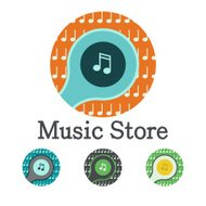 Music logo vector icon