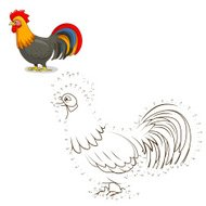 Connect the dots game rooster vector illustration