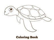 Coloring book turtle sea animal cartoon educational illustration