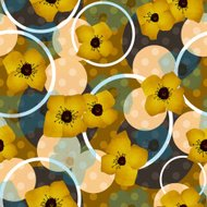 Seamless blue flowers pattern with circles background