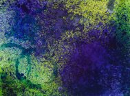 Vivid green purple and blue Hand Painted Background