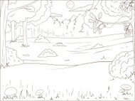 Forest cartoon coloring book educational game vector llustration