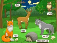 Forest with cartoon animals with names educational game vector l