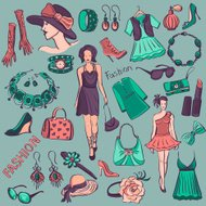 Hand drawn Beauty and Fashion collection