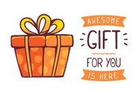 Vector illustration of great red gift box with title