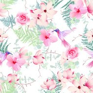 Exotic flowers with hummingbirds seamless vector print