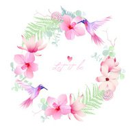 Delicate tropical flowers with flying hummingbirds round vector frame