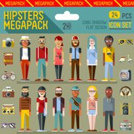 Hipsters megapack. Flat design. Long shadow. Icon set 2nd.