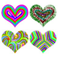Set of watercolor and color pencils or crayons, rainbow hearts