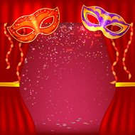Red background with theater stage and masks. Banner