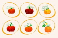 vector six different pumpkins