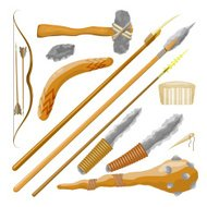 Set Items ancient people on white background. Vector