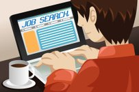 Man Searching for a Job Online