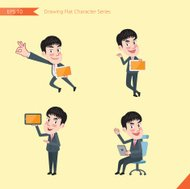 Set of drawing flat character style, busines office worker activities